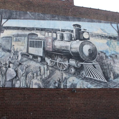 The Knoxville Historic Train Mural on the side of The Love Shack restaurant, 5011 Kingston Pike.