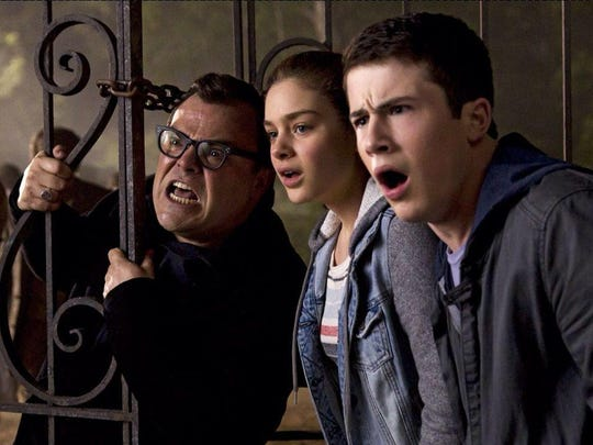 "Jack Black, Odeya Rush and Dylan Minnette star in ""Goosebumps."""