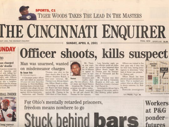 A copy of the front page of the Cincinnati Enquirer