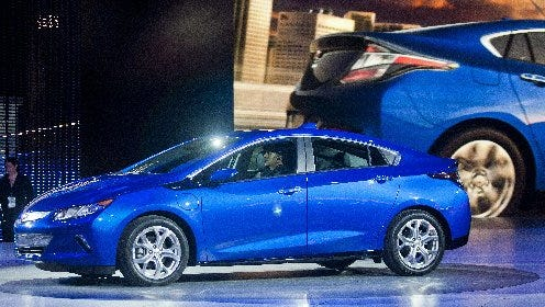 The 2016 Chevrolet Volt  is presented at the North American International Auto Show,  Jan. 12, 2015, in Detroit.