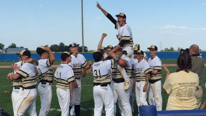 Brandon Vermillion is carried off the field after Daleville's 7-2 win over Pioneer in the Class A Carroll Regional championship. It was Daleville's first regional title in school history.