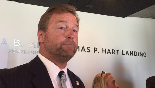 U.S. Sen. Dean Heller, R-Nev., talking to press on Tuesday, Aug. 9, 2016. Heller said he was not ready to support Republican presidential nominee Donald Trump just yet.
