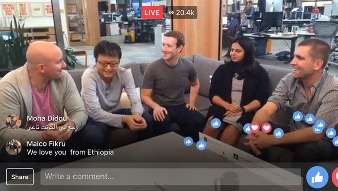Facebook CEO Mark Zuckerberg and the team that launched News Feed 10 years ago take part in a Facebook LIve video.