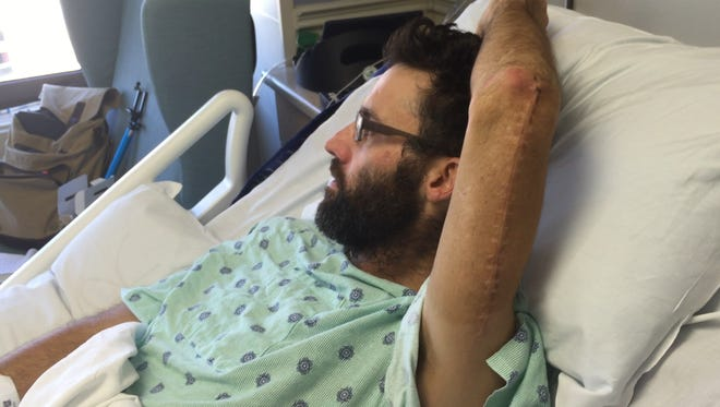 Jared Fenstermacher was riding his bicycle through Iowa when a truck hit him from behind. He broke bones in both his arms and is paralyzed.