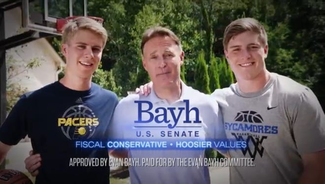 Evan Bayh's new campaign ad for U.S. Senate features his 20-year-old twin sons, Nick and Beau.