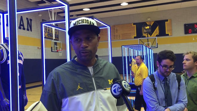 Former U-M basketball player Jalen Rose speaks to reporters after emceeing the Jumpman jersey unveiling on Sept. 30, 2016.