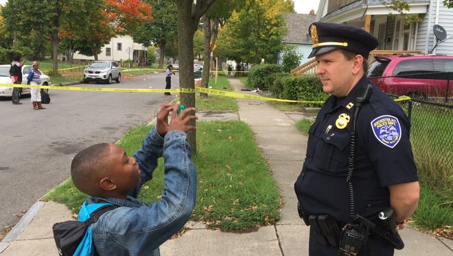 Geoffery Rogers interviews RPD Capt. Korey Brown about a shooting Monday afternoon.