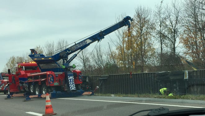 A tractor trailer unit rolled off the northbound lane of Interstate 89 on Wednesday in Williston.