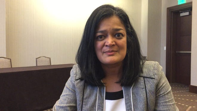 Pramila Jayapal, a Democratic activist who is the first Indian-American woman elected to Congress, called for unity among immigrant rights advocates and continued resistance against President-elect Donald Trump's policies targeting immigrants during an appearance at a conference in Nashville on Tuesday, Dec. 13, 2016.