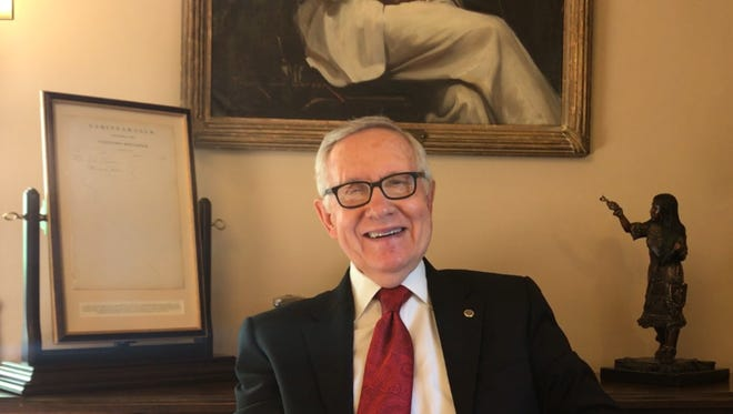 U.S. Sen. Harry Reid, D-Nev., smiles during an interview with the Reno Gazette Journal on one of his final days in office.