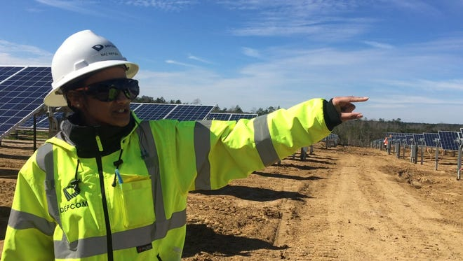 Naz Riffah of DEPCOM Power talks about Mississippi Power's new solar facility in Sumrall.