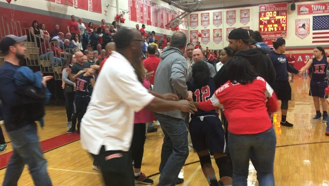 A brawl involving Peekskill girls basketball players and parents broke out following a loss to Tappan Zee. Feb. 18, 2017.