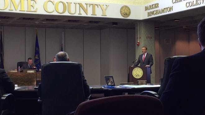 District Attorney Steve Cornwell speaks in front of the Broome County legislature Thursday about hiring an assistant DA to prosecute welfare fraud.