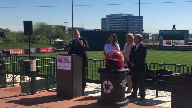 """Phoenix Mayor Greg Stanton spoke Tuesday morning at Tempe Diablo Stadium about the positive change the """"Don't Trash Arizona"""" campaign is making across the state."""