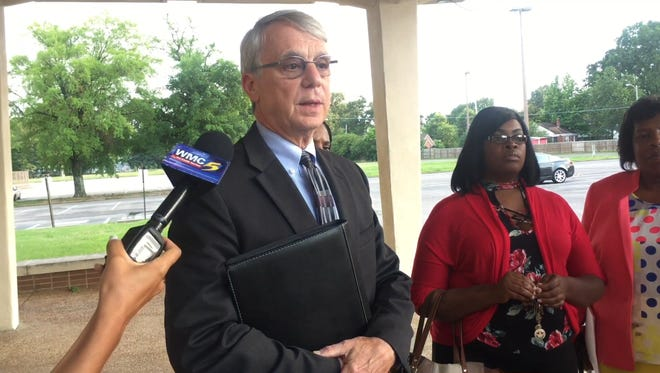 Shelby County Board of Education Chairman Chris Caldwell speaks to members of the media June 6, 2017, regarding allegations made by the principal of Trezevant High School.