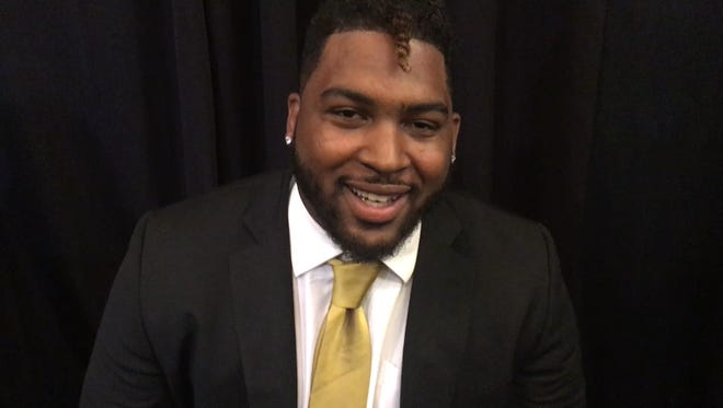 Alabama State offensive lineman Tytus Howard during Friday's SWAC media day at Birmingham.