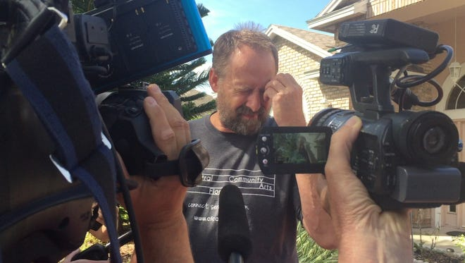 Eric Paddock speaks with reporters outside his East Orlando home. His brother, Stephen Paddock, is believed to have opened fire on a crowd in Las Vegas, killing more than 50 and injuring more than 500.