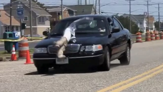 A car going just 25 mph hits a crash dummy in a demonstration video provided by the North Jersey Transportation Planning Authority.