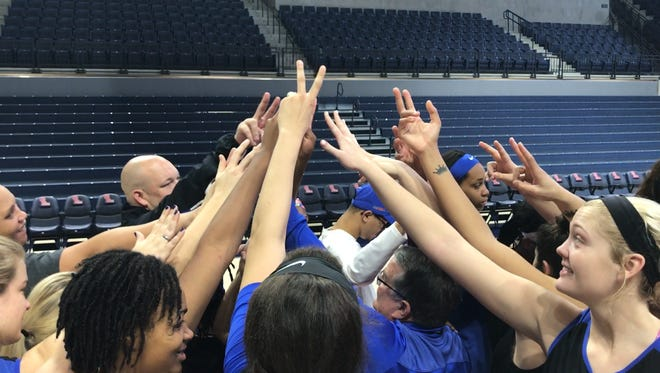 The MTSU women's basketball team concludes a shoot round ahead of a night game against Ole Miss at The Pavilion in Oxford, Miss., on Wednesday, Nov. 29, 2017.