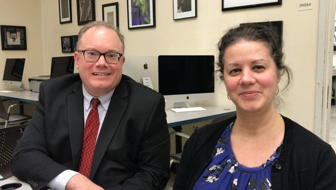 County College of Morris Dean of Liberal Arts Bruce Dutra and Nieves Gruneiro-Roadcap, chair of the Department of Art and Design, discuss the school's new virtual reality degree program.