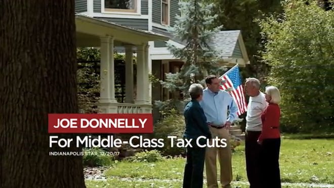 Screenshot of television ad paid for Senate Majority PAC, a Democratic group supporting Sen. Joe Donnelly's re-election bid.