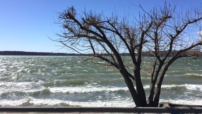 Strong winds on Orchard Lake on Wednesday, March 8, 2017.