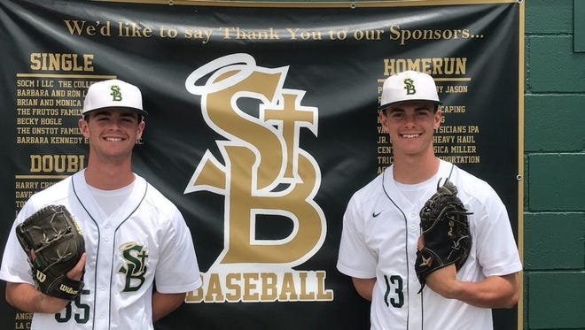 Pitching ace Jake Saum, left, has been joined by younger brother Charlie, a freshman catcher, on this year's St. Bonaventure High baseball team.