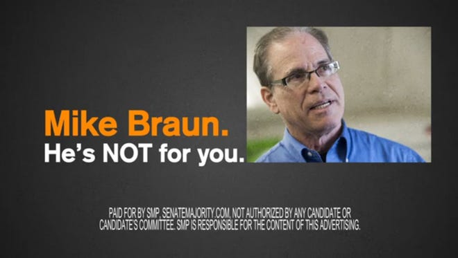 Screenshot of ad attacking GOP Senate nominee Mike Braun. The ad is paid for by Senate Majority PAC, a Democratic group.