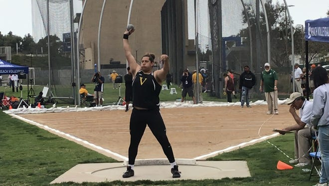 Ventura High's Carlos Aviles competes on the Division 2 shot put during the CIF-SS Track and Field Finals on Saturday. Aviles won the shot put and discus titles.
