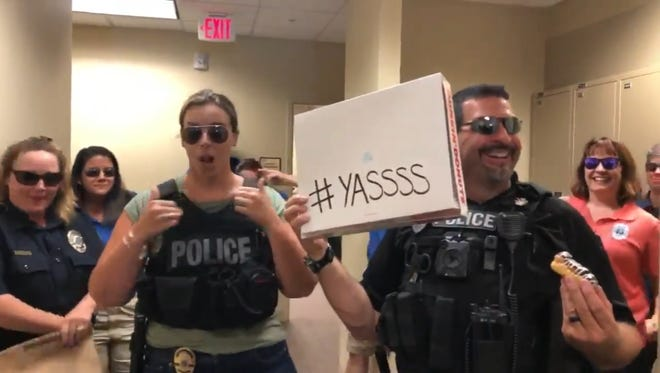 Journey, Macklemore and the Spice Girls were among the artists featured in the Stuart Police Department's lip-sync challenge video, released Saturday.