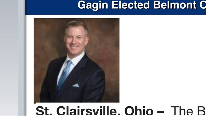 A screenshot of Gagin from the Belmont County GOP website.