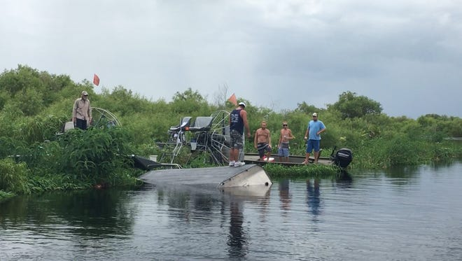 No one was seriously hurt when an airboat overturned on the St. Johns River Thursday.
