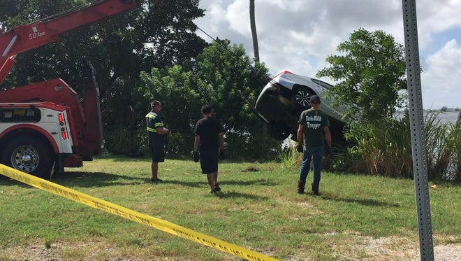 A car that apparently plunged into the Banana River overnight, has been pulled out of the water