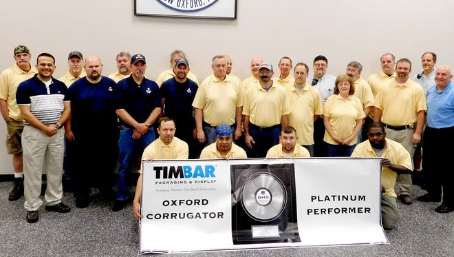 TimBar employees recognized recently for outstanding performance are front row (kneeling):  Alan Bosserman; Brian Matthews; Scott Livelsberger; Terrick Mathis; second row:  Aiman Banawan; Adam Topper, BHS; Bill Kale, BHS; Cain Rosenberry, BHS; Donnie Sanders; Jim Merrel; Don Sullivan; Debra Kirby; Jeff Heare; John Rice, General Manager; third row: John Gladfelter; Gary Slaybaugh; Jim Smith; Theon Laughman; Scott Norris; Ted Horn; Dan Bosserman; Will Cole; Dave Klunk; Shawn Orndorff; Dan Miller; and John Rice, General Manager.