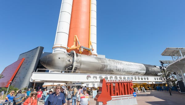 A Falcon Heavy side booster is seen at the...