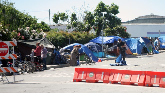 Homeless camps have returned to Soledad Street in Chinatown after sweeps to relocate them.