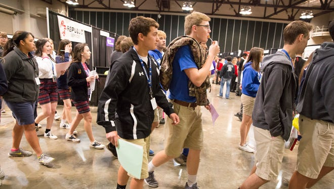 Students fill the Cajundome Convention Center during the 17th annual Career Connections Expo in Lafayette. About 4,000 high school students from Lafayette, Iberia, St. Martin and Vermilion parishes discussed career opportunities with business representatives from various fields.