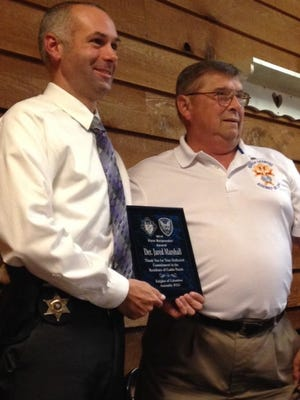 CPSO Deputy Jared Marshall received the First Responder Award from Knights of Columbus Wednesday.