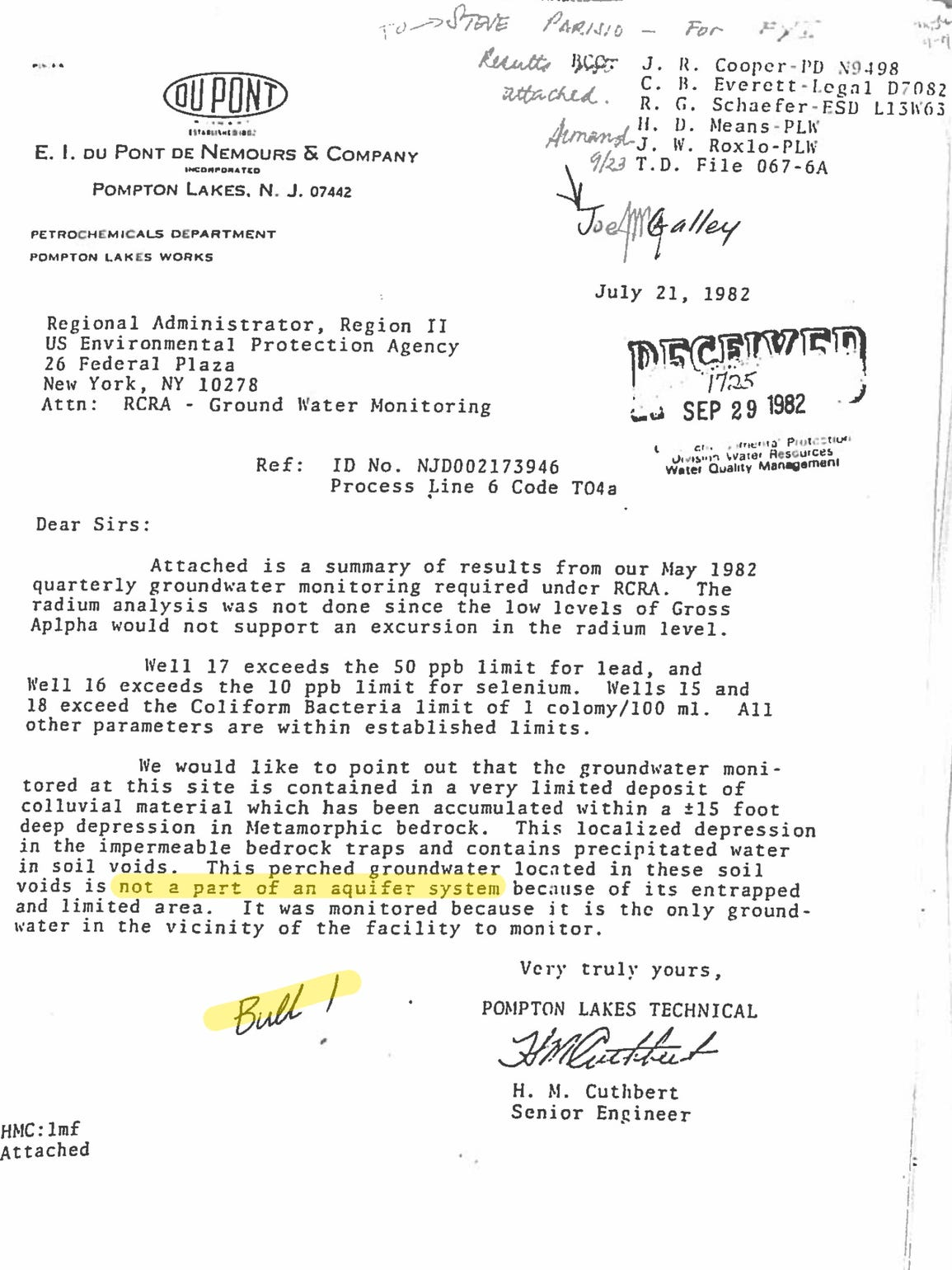 "A 1982 DuPont letter to the state arguing the shooting pond could not contaminate groundwater. A skeptical DEP official wrote ""Bull!"" at the bottom."