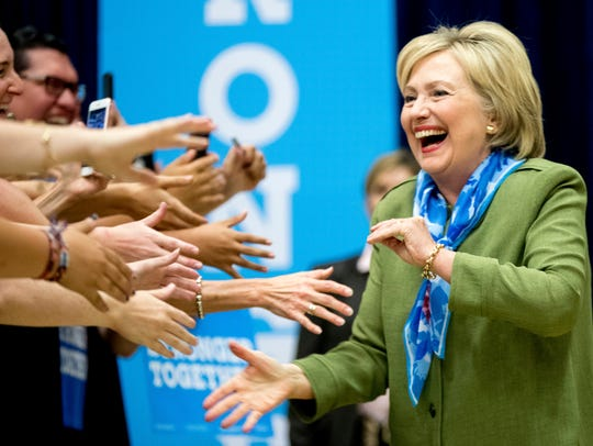 Democratic presidential candidate Hillary Clinton arrives