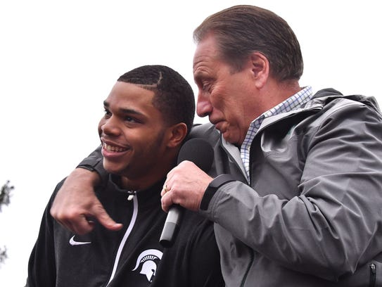 Miles Bridges, with Tom Izzo, announces his decision