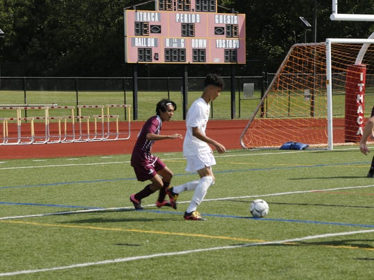 Ithaca's Roberto Mier looks for an open shot on Friday