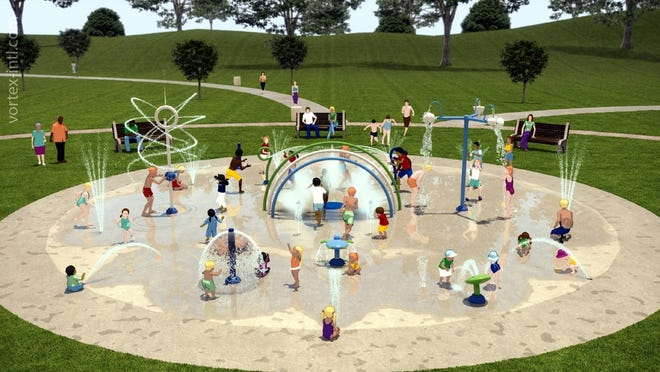 An illustration of the new splash park proposal, to be voted on during Monday night's Clinton Town Meeting.