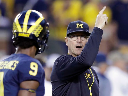 Michigan Head Coach Jim Harbaugh Right Signals To His Team During Warmups For An