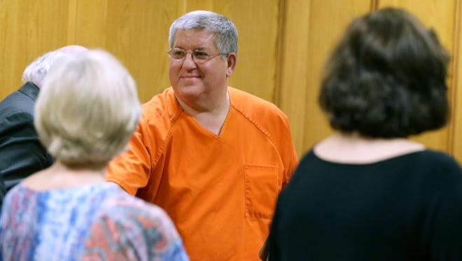 File - In this May 6, 2014, file photo, Bernie Tiede smiles after a court hearing granting his release at the Panola County court house in Carthage. Tiede, an Abilene Cooper High School graduate, is appealing his sentence for the death of Marjorie Nugent. (AP Photo/LM Otero, File)