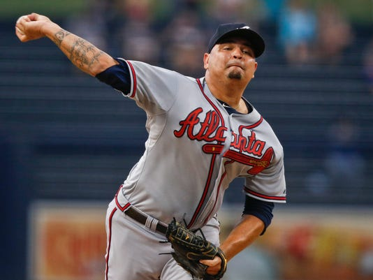 Atlanta Braves starting pitcher Williams Perez works against the San Diego Padres in the first inning of a baseball game  Monday, Aug. 17, 2015, in San Diego. (AP Photo/Lenny Ignelzi)