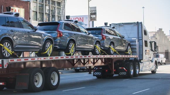 Uber provided this photo of some of its fleet of self-driving