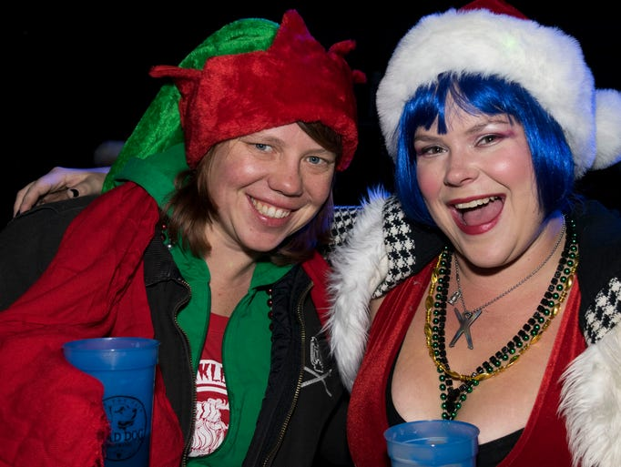 A scene from the Santa Crawl on Saturday in downtown