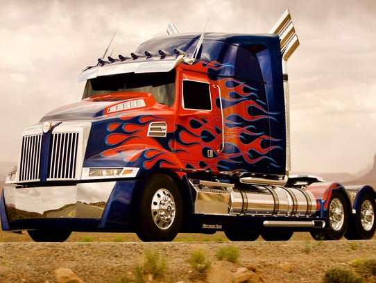 "The truck that transforms into 'Optimus Prime' from ""Transformers: Age of Extinction."""