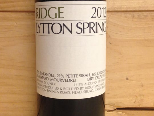 2012 Ridge Lytton Springs zinfandel blend.